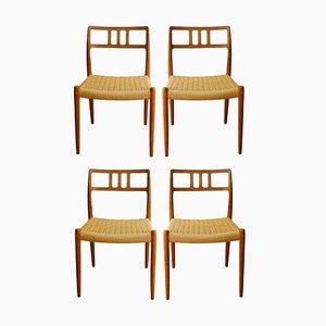 Mid-Century Teak Modell 79 Esszimmerstühle von Niels Otto Møller für JL Møllers, 1960er, 4er Set