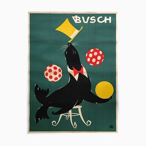 East German Busch Circus 1967 Juggling Seal Poster