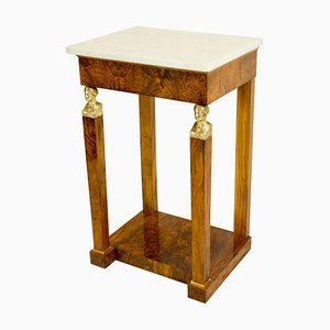Small French Empire Walnut Console Table with Marble Top & Bronze Caryatides