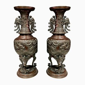 Large Chinese Bronze Vases, Set of 2