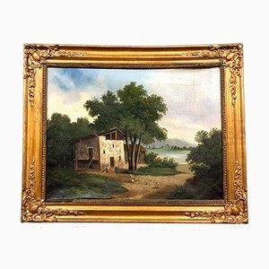 Óleo sobre lienzo de la Escuela de Barbizon, década de 1850
