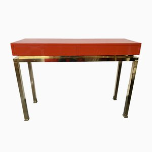 Table Console en Laiton Laqué par Guy Lefevre, France, 1970s