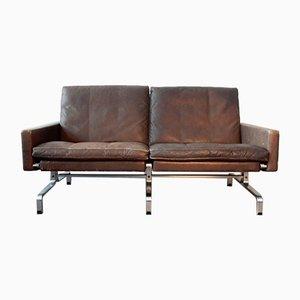 Mid-Century PK-31/2 Sofa aus Braunem Leder von Poul Kjærholm für E. Kold Christensen