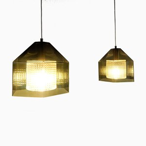 Mid-Century Hexagon Ceiling Lamps by Carl Fagerlund for Orrefors, Set of 2