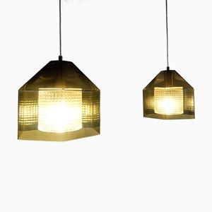 Sechseckige Mid-Century Deckenlampen von Carl Fagerlund für Orrefors, 2er Set