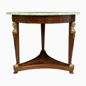 Table Console Empire en Bronze Doré et Acajou