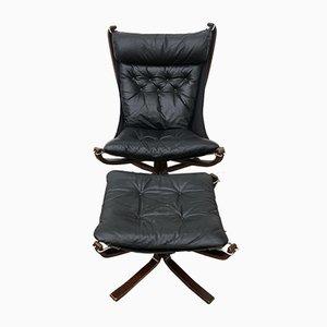Chaise à Dossier Haut Falcon et Tabouret par Sigurd Ressell pour Vatne Lenestolfabrikk, 1990s