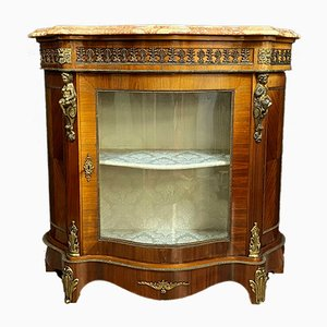 Antique Curved Mahogany Buffet with Gilt Brone Friezes