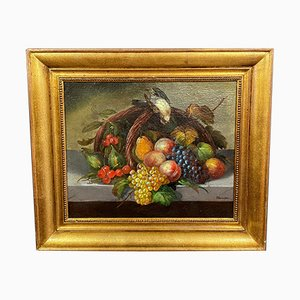 Barbizon School French Still Life with Fruit, Oil on Canvas