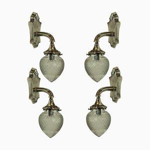 Antique Silver Sconces, Set of 4