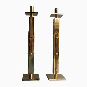 Brutalist Solid, Polished Brass Candleholders by Angelo Brotto, 1960s, Set of 2