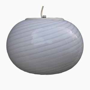 Spiral White Egg Ceiling Lamp from De Majo, 1970s
