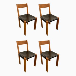 Dining Chairs by Pierre Chapo, 1950s, Set of 4