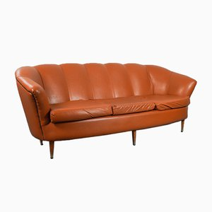 Sofá vintage de cuero marrón, años 50