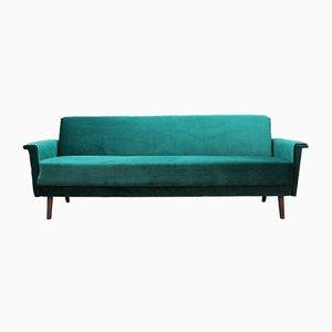 Dänisches Grünes Vintage Velours Sofa, 1970er