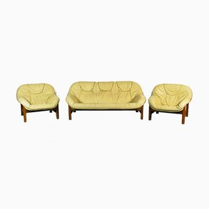 Vintage Brazilian Style 2-Seat Sofa & Armchairs, 1970s, Set of 3