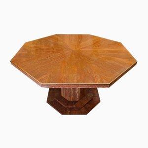 Mesa de comedor octogonal de travertino y latón rojo, años 70
