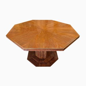 Octagonal Travertine & Red Brass Dining Table, 1970s