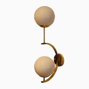 Vintage Italian Modern Brass & Murano Glass Sconces, Set of 2