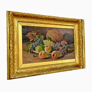 Naturaleza muerta grande con frutas, óleo sobre lienzo de Alexandre Claude, años 20