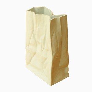 Jarrón de suelo vintage con bolsa de papel blanca de Tapio Wirkkala para Rosenthal
