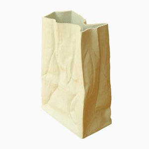 Vintage White Paper Bag Floor Vase by Tapio Wirkkala for Rosenthal