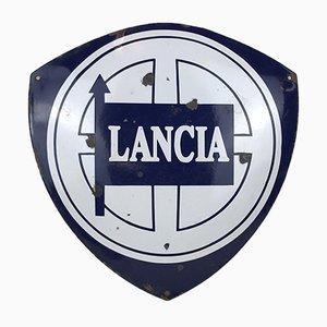 Enseigne Lancia Publicitaire Vintage en Métal Émaillé, Italie, 1970s
