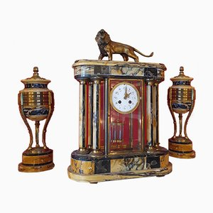 Empire Style Marble & Bronze Clocks, Set of 3