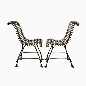 Antique Garden Chairs with Cast Iron Lion Claw Feet from Arras, 1880s, Set of 2