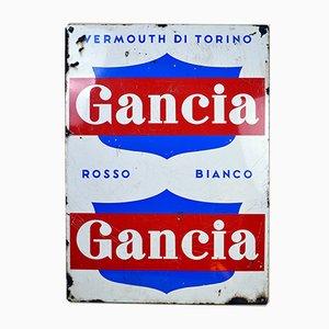 Cartel de ver de Gancia italiano de metal esmaltado en azul, rojo y blanco, años 60