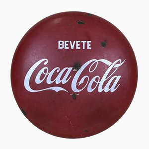 Italienisches Vintage Emaille aus Metall Bevete Coca-Cola Getränk Schild, 1960er
