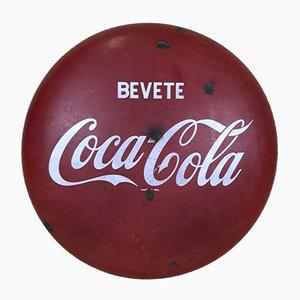 Vintage Italian Metal Enamel Bevete Coca-Cola Drink Coca-Cola Button Sign, 1960s