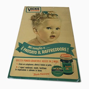 Insegna pubblicitaria Vicks vintage in metallo stampato, Italia, anni '50