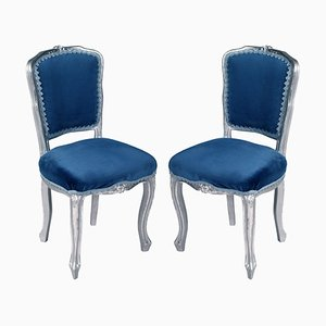 Louis XV Venetian Side Chairs in Silvered Hand-Carved Walnut, Set of 2