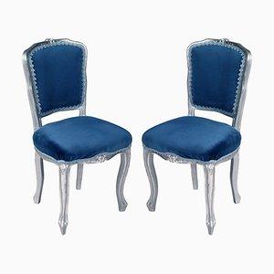 Louis XV Venezianische Stühle in Versilbertem Geschnitztem Nussholz, 2er Set