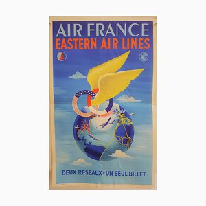 Air France Eastern Airlines Poster by Plaquet for Perceval, 1950s