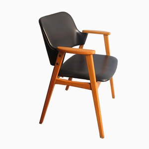 Leatherette and Birch Armchair, 1960s