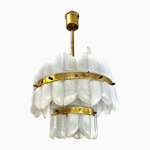 Frosted Ice Glass Chandelier by J. T. Kalmar, 1950s