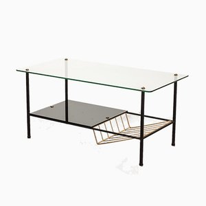 Black Steel Coffee Table with Magazine Rack by Pierre Guariche for Airborne, 1950s