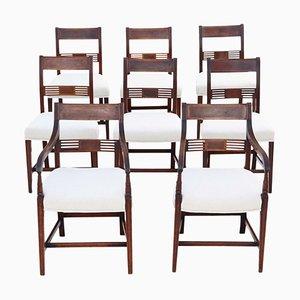Georgianische Mahagoni Esszimmerstühle mit Intarsien, 1820er, 8er Set