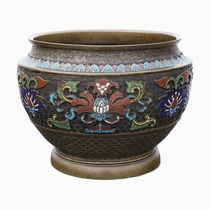 Late-19th Century Chinese Bronze Cloisonne Planter Bowl
