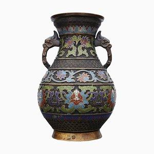 Chinesische Cloisonné Bronze Vase, 19. Jh