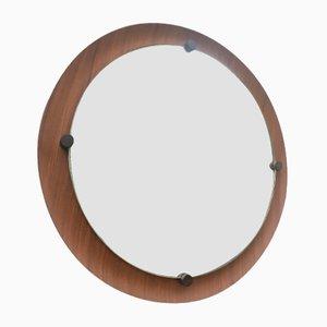 Round Curved Teak Mirror, 1960s