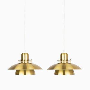Vintage Golden Ceiling Lamps by Kurt Wiborg for Jeka Metaltryk, Set of 2
