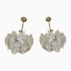 Frosted Ice Glass Chandeliers from Mazzega, 1970s, Set of 2