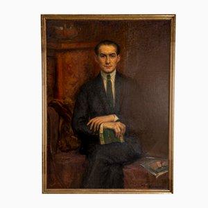 Aceite enmarcado grande de Hans Alin, años 20