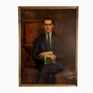 Large Framed Oil on Canvas of Hans Alin, 1920s