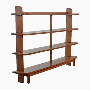 Amsterdam School Dutch Stokkenkast Solid Oak Shelving Wall Unit, 1950s