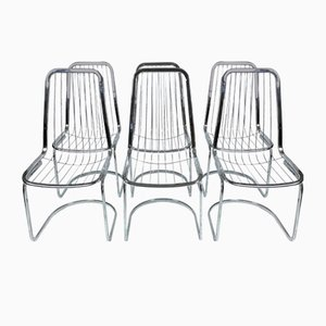 Chrome Dining Chairs, 1980s, Set of 6