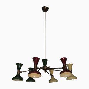 Lámpara de techo Diablo italiana de metal lacado en latón de Stilnovo, años 50